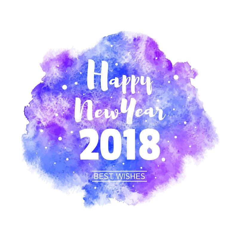 För vattenfärgvektor för lyckligt nytt år kort 2018 för hälsning royaltyfri illustrationer