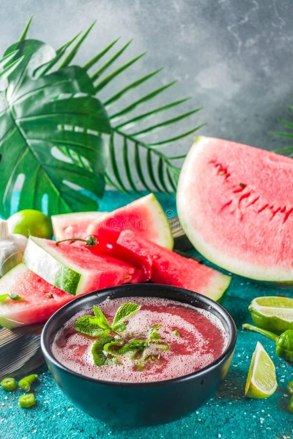 För vattenmelongazpacho för sommar kall soppa royaltyfri fotografi
