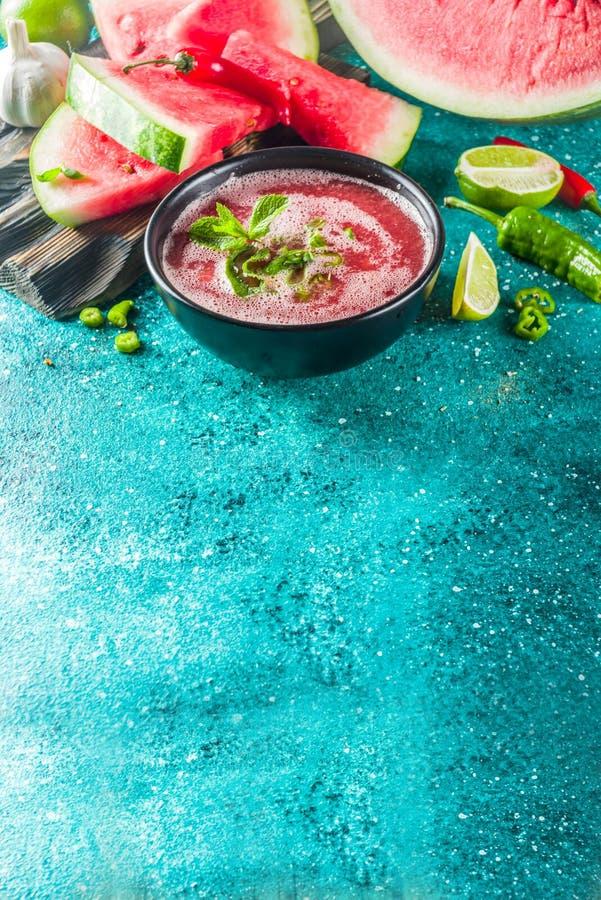 För vattenmelongazpacho för sommar kall soppa arkivbilder