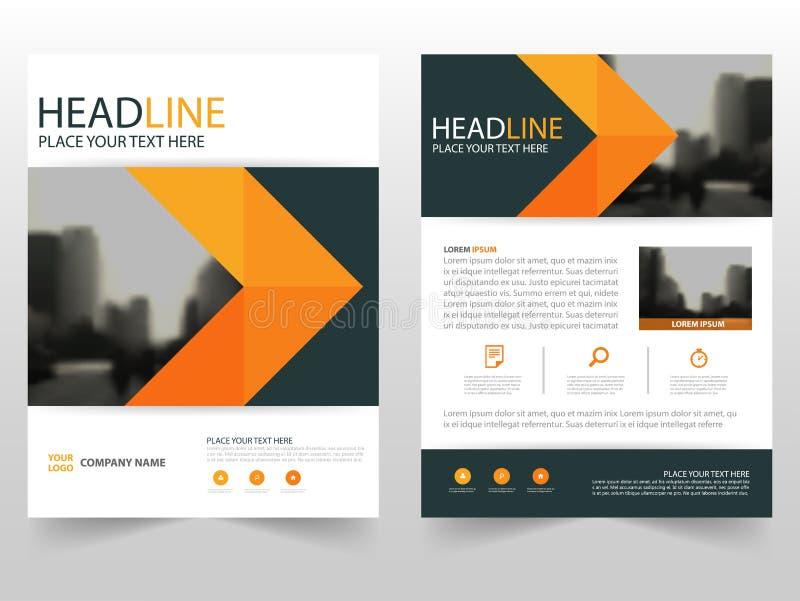 För vektorårsrapport för apelsin svart design för mall för reklamblad för broschyr för broschyr, bokomslagorienteringsdesign, abs royaltyfri illustrationer