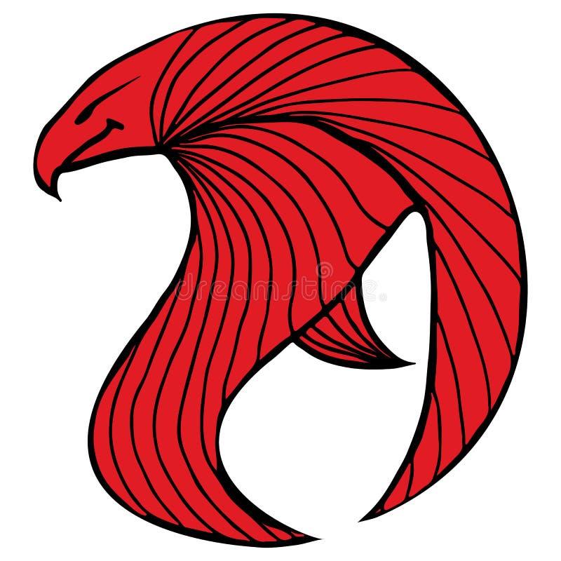För vektorörn för hand utdragen illustration Fantastisk höksymbol Frihandskontur av översiktsgalandet Fantasiöversiktsillustratio royaltyfri illustrationer