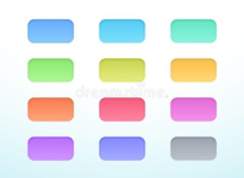 För vektor 3d för ask färgrik för snitt uppsättning för beståndsdelar för baner ut av 12 vektor illustrationer