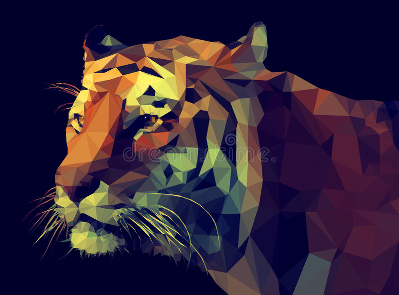 För vektor poly design lågt Tiger Illustration stock illustrationer