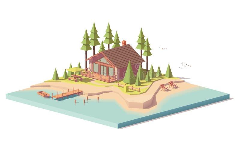 För vektor poly hus lågt i skog royaltyfri illustrationer