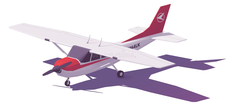 För vektor poly litet flygplan lågt royaltyfri illustrationer
