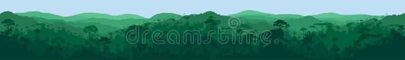 för vektor för rainforestdjungel länge horisontalsömlös tropisk bakgrund vektor illustrationer