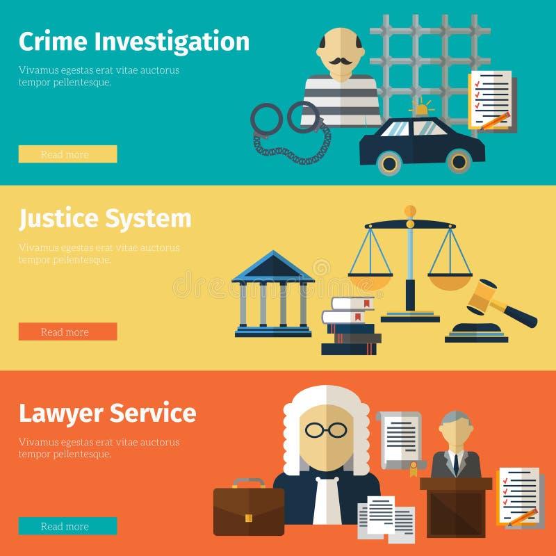 För vektorbaner för rättvisa och för advokat tjänste- uppsättning stock illustrationer