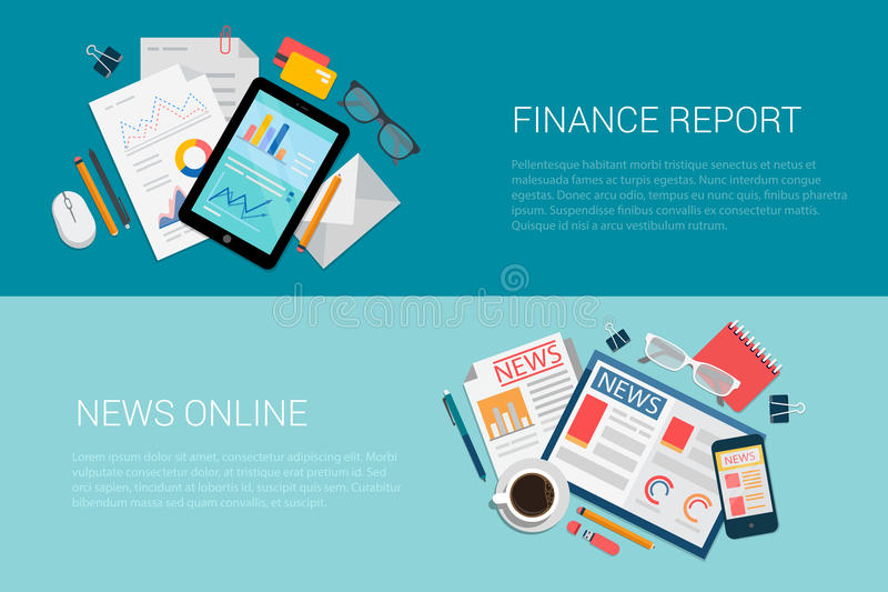För vektorbaner för rengöringsduk online-tidningar för plan för finans nyheterna för rapport stock illustrationer