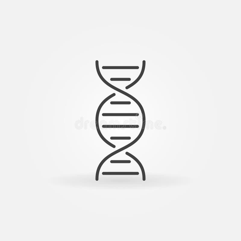 För vektorbegrepp för DNA minsta symbol i översiktsstil stock illustrationer