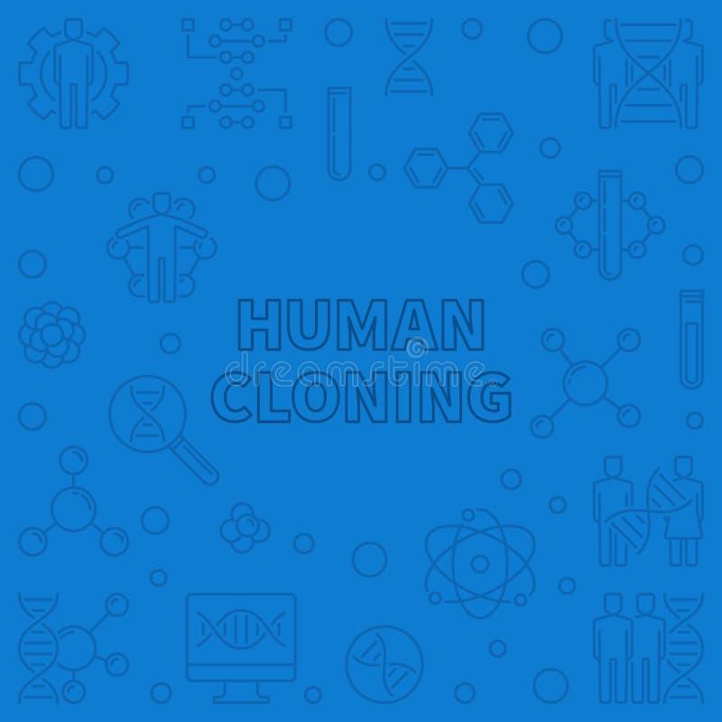 För vektorbegrepp för mänsklig kloning illustration för översikt blå vektor illustrationer