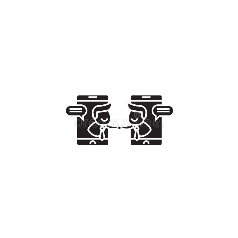 För vektorbegrepp för online-befästning svart symbol Plan illustration för online-befästning, tecken stock illustrationer