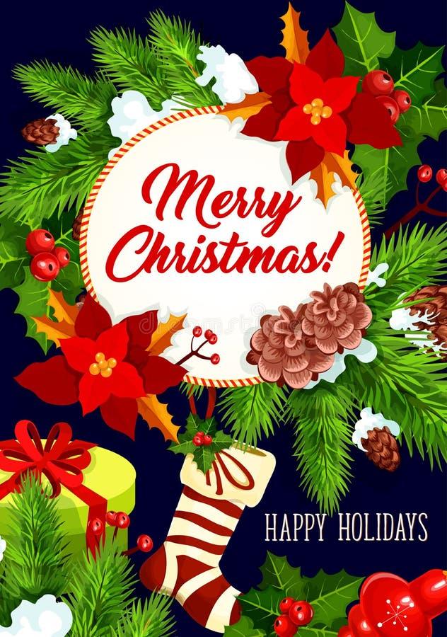 För vektorberöm för glad jul kort för hälsning stock illustrationer