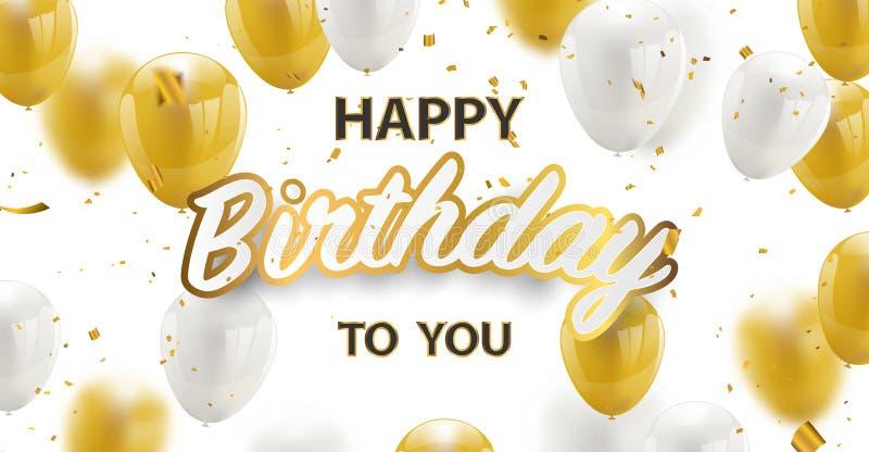 För vektorberöm för lycklig födelsedag konfettier och vit för folie för baner för parti blänker guld- och guld- ballonger stock illustrationer