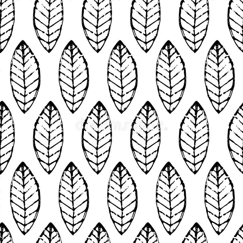 För vektorblad för vattenfärg hand dragen sömlös modell Abstrakt gru vektor illustrationer