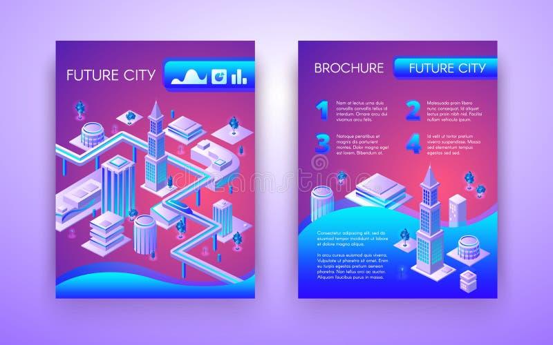 För vektorbroschyr för framtida stad isometrisk mall stock illustrationer