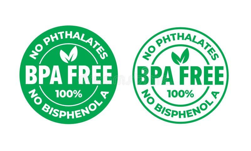 För vektorcertifikat för BPA fri symbol Inga phthalates och inget bisphenol, säker matpackestämpel, kontrollfläck och grönt blad royaltyfri illustrationer