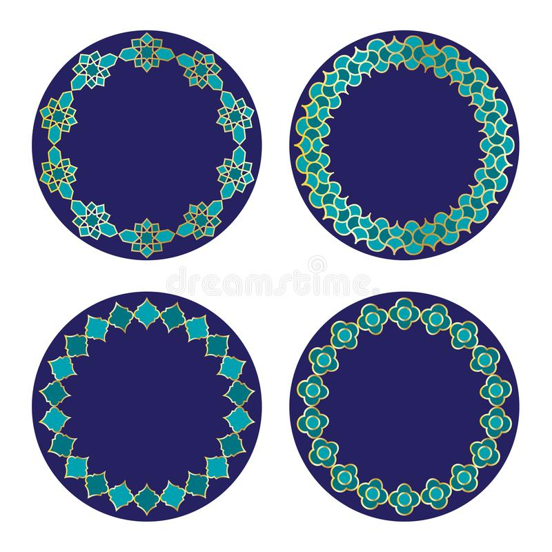 För vektorcirkel för guld blåa marockanska ramar royaltyfri illustrationer