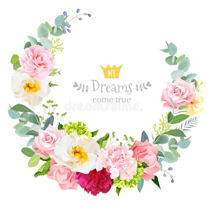 För vektordesign för gulligt bröllop blom- ram för runda royaltyfri illustrationer
