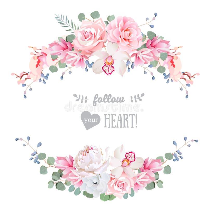 För vektordesign för gulligt bröllop blom- ram Steg pionen, orkidén, anemonen, rosa färgblommor, eucaliptussidor vektor illustrationer