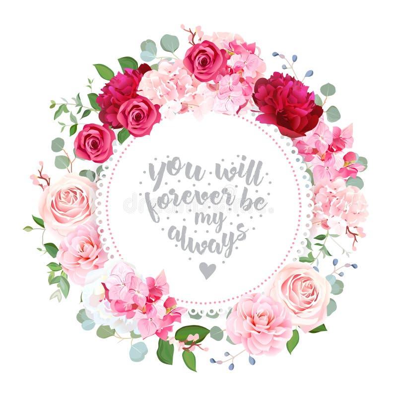 För vektordesign för romantiskt bröllop blom- kort för runda royaltyfri illustrationer