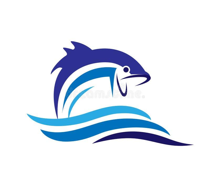 För vektordesign för fisk abstrakt mall för symbol för logo På vitbakgrund vektor illustrationer