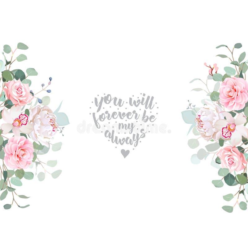 För vektordesign för gulligt bröllop blom- ram stock illustrationer
