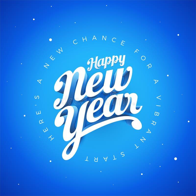 För vektoregen 3d för lyckligt nytt år som hand märker typografisk desig stock illustrationer