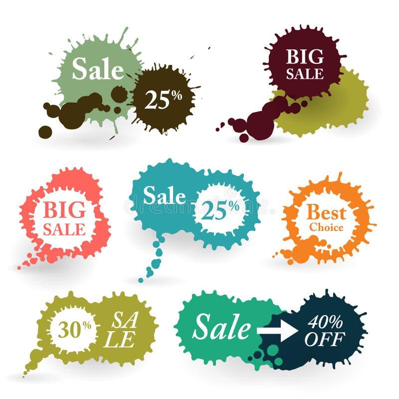För vektorfärgstänk för affär färgrika etiketter stock illustrationer