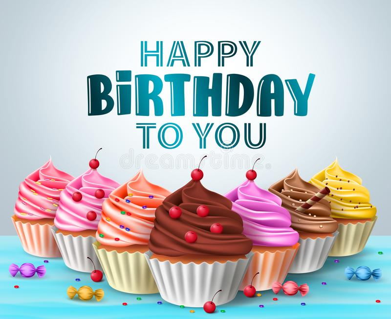 För vektorfödelsedag för muffin s bakgrund Text för lycklig födelsedag och läckra blandade muffin vektor illustrationer