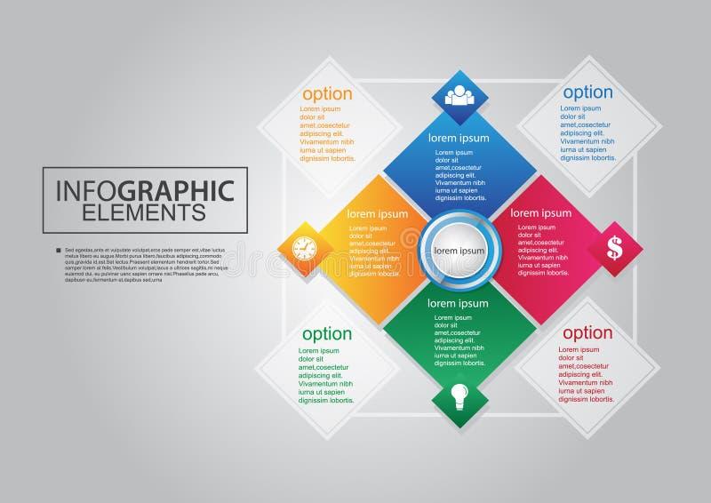 För vektorfyrkant för affär infographic plan royaltyfri illustrationer