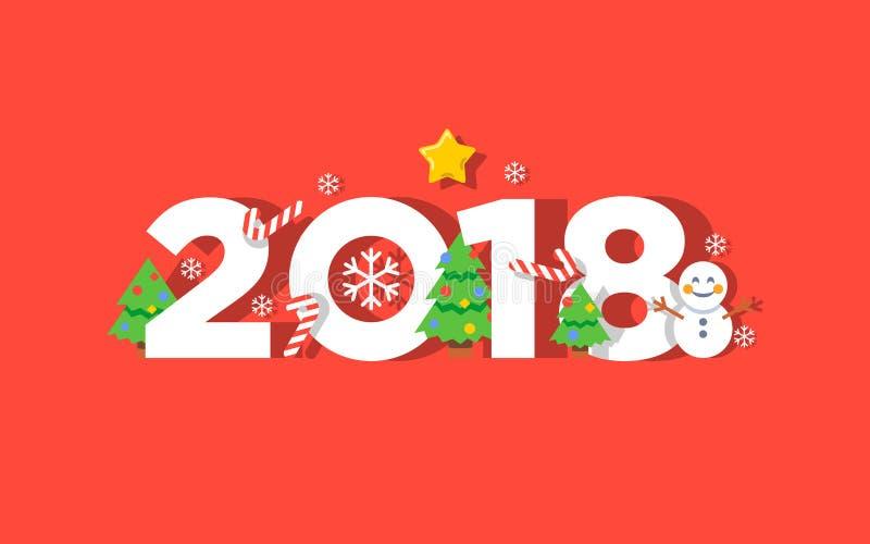 För vektorhälsning för lyckligt nytt år kort 2018 stock illustrationer