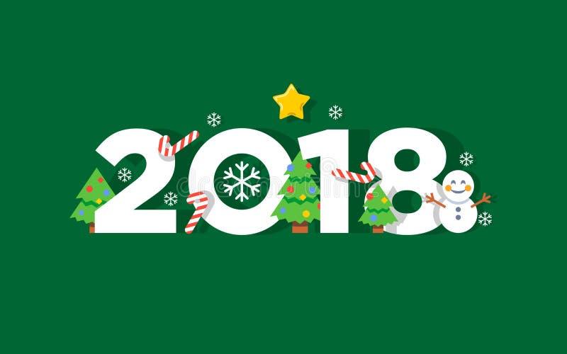 För vektorhälsning för lyckligt nytt år kort 2018 vektor illustrationer