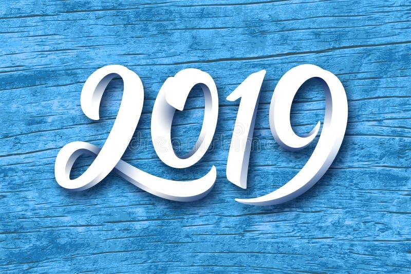 För vektorhälsning för lyckligt nytt år kort 2019 royaltyfri illustrationer