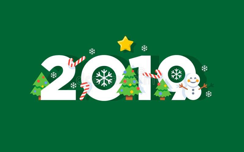 För vektorhälsning för lyckligt nytt år kort 2019 stock illustrationer