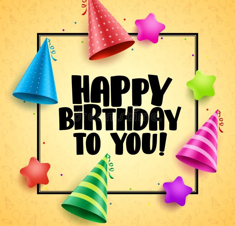 För vektorhälsningar för lycklig födelsedag design för kort med boarderen stock illustrationer