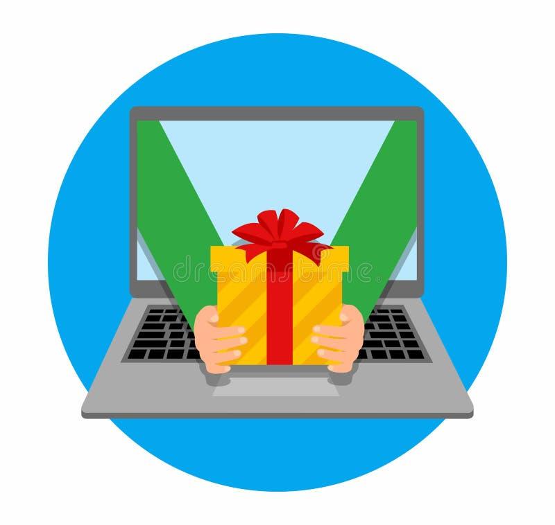För vektorillustration för plan design färgrikt begrepp för online-beställa för gåvor och hemsändning på vit bakgrund stock illustrationer