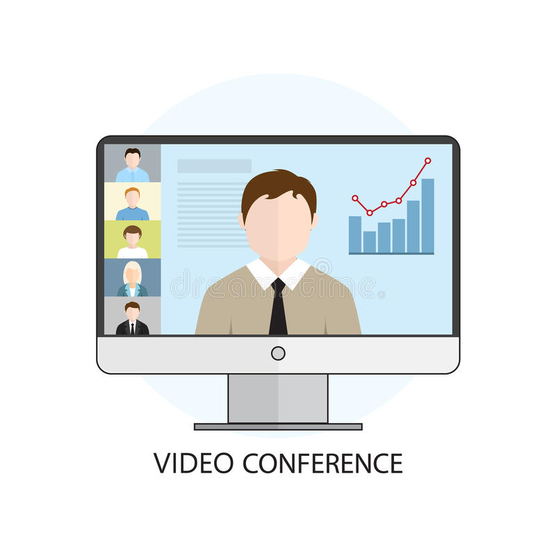 För vektorillustration för plan design färgrikt begrepp för video confe royaltyfri illustrationer
