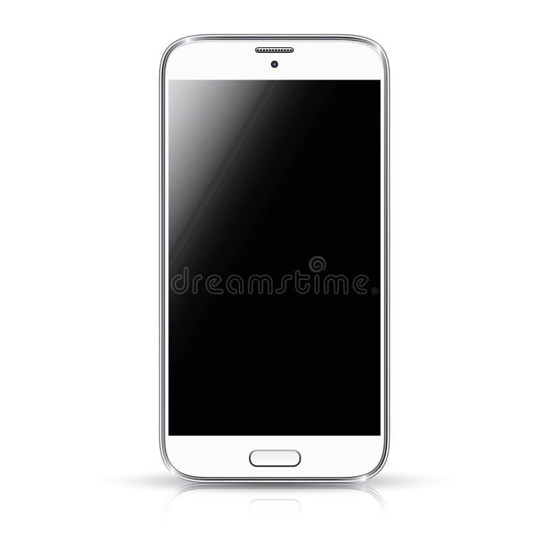 För vektorillustration för vit smartphone realistisk iso vektor illustrationer