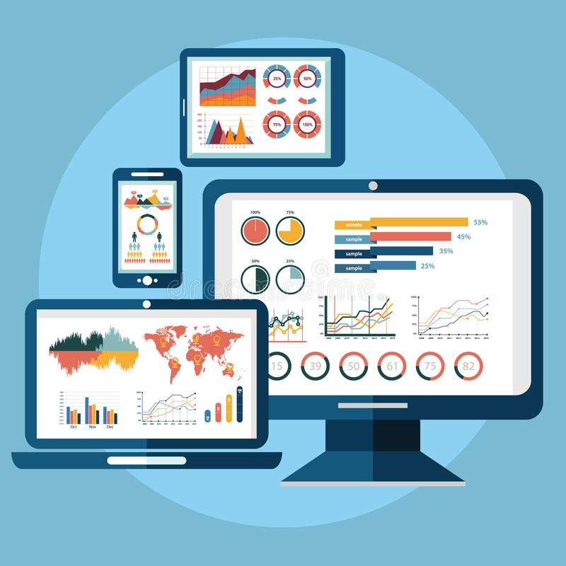 För vektorillustration för plan design modernt begrepp använda för analys av för websiteanalyticssökande för information och för  royaltyfri illustrationer