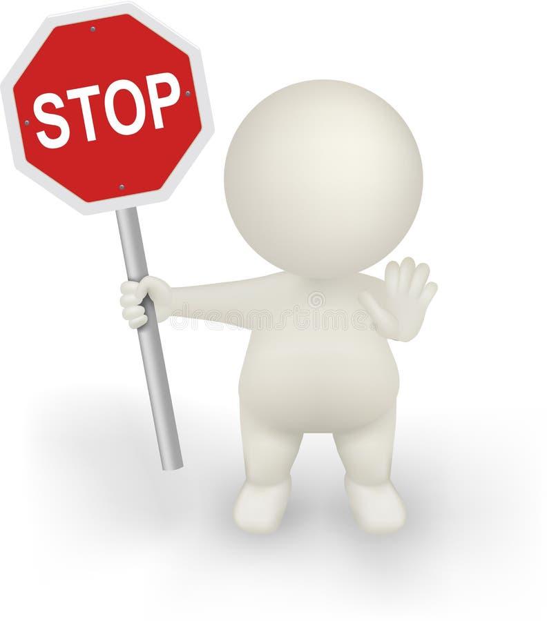 för vektorinnehav för man 3d tecken för STOPP med stoppgest. fotografering för bildbyråer