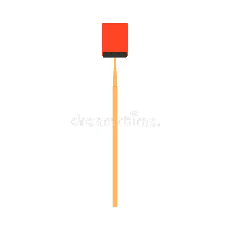 För vektorkontroll för flugsmälla röd symbol för vektor för mygga för plåga Plast- isolerat vitt för handtagutrustninghjälpmedel  royaltyfri illustrationer