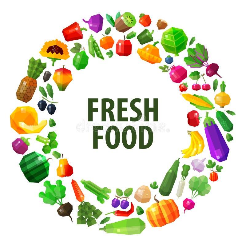 För vektorlogo för ny mat mall för design Frukter och stock illustrationer