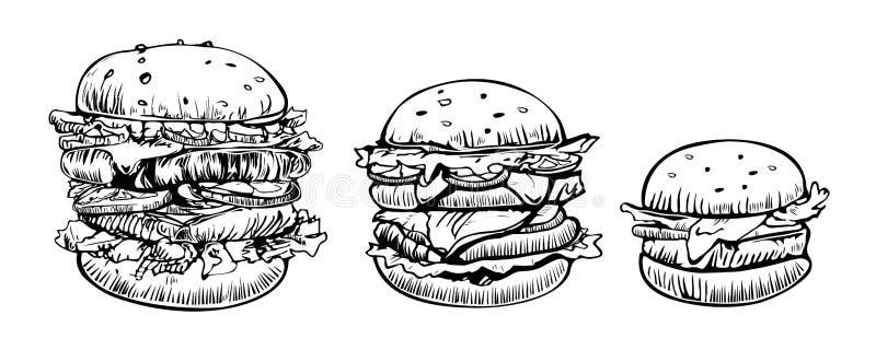 För vektorlogo för hamburgare fastställd mall för design Snabbmat- eller restaurangsymboler Utdragen illustration för hand av ham royaltyfri illustrationer