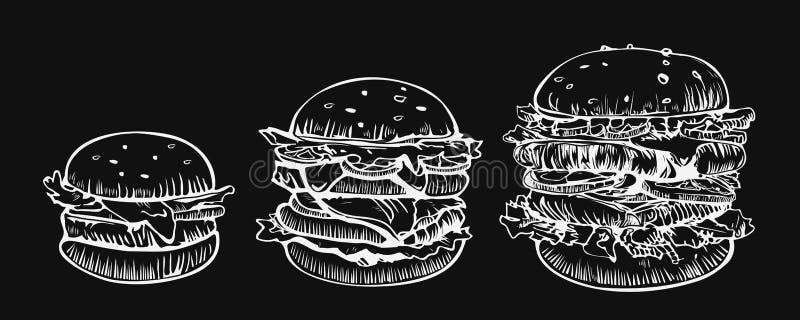 För vektorlogo för hamburgare fastställd mall för design Snabbmat- eller restaurangsymboler Utdragen illustration för hand av ham stock illustrationer