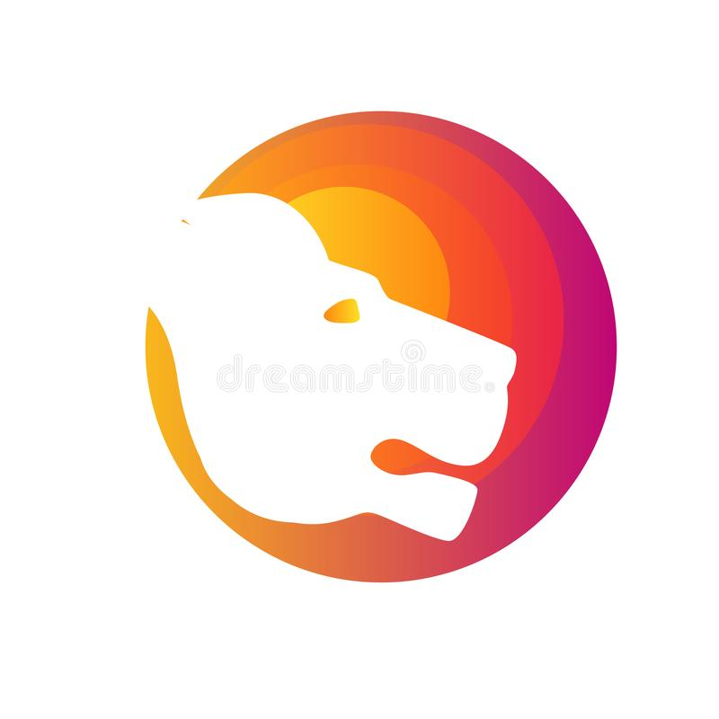 För vektorlogo för lejon head design, abstrakt tigerlogo Tecken som är starkt royaltyfri illustrationer