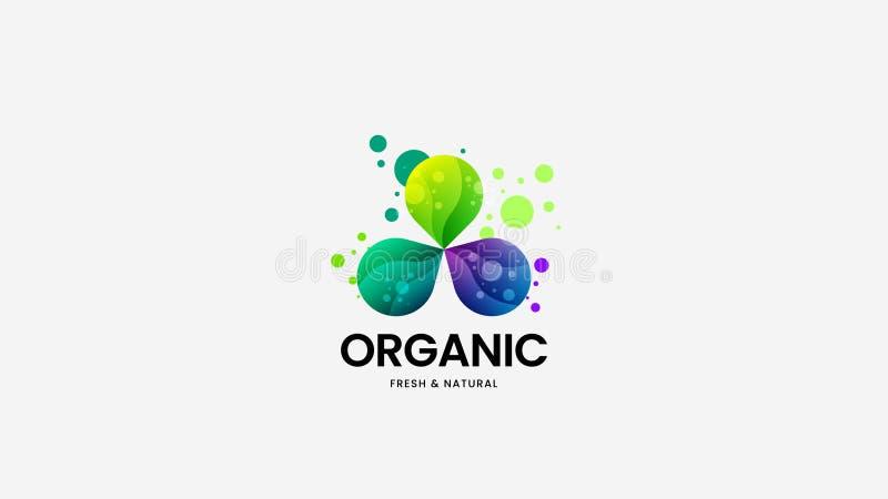 För vektorlogo för organisk mat tecken för företags identitet Logotypemblemillustration Naturlig och sund emblemdesignorientering royaltyfri illustrationer