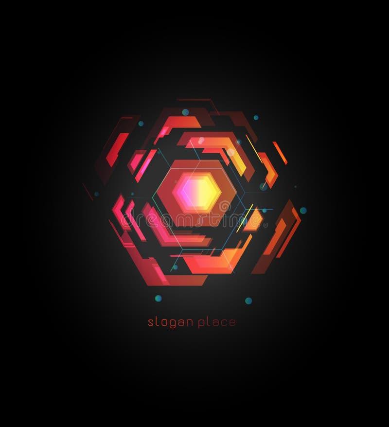 För vektorlogo för virtuell verklighet abstrakt färgrik mall För designeffekt för innovativa teknologier digital logotyp på svart stock illustrationer
