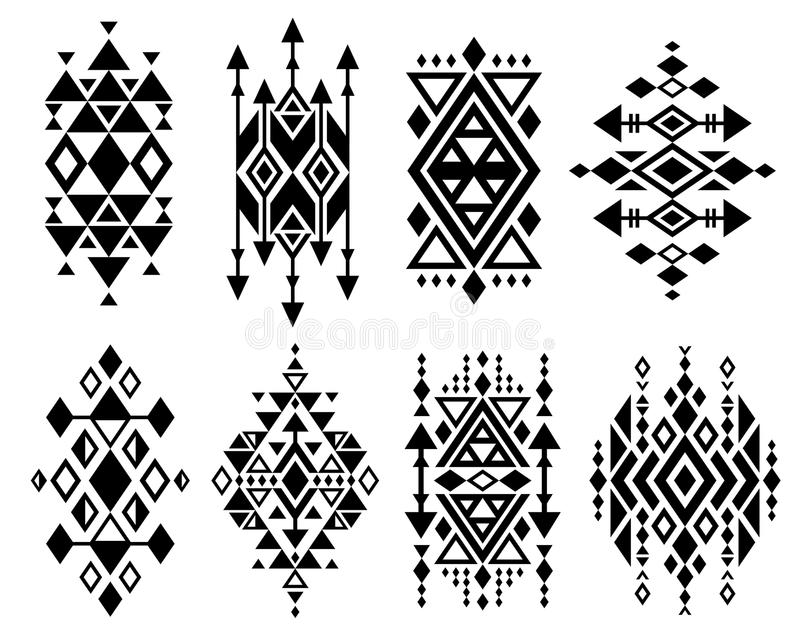 För vektorlogoen för tappning ställde den mexikanska aztec stam- traditionella designen in, navajotryck vektor illustrationer