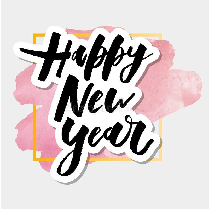 För vektorlutning för lyckligt nytt år vattenfärg för klistermärke för kalligrafi för bokstäver för uttryck stock illustrationer