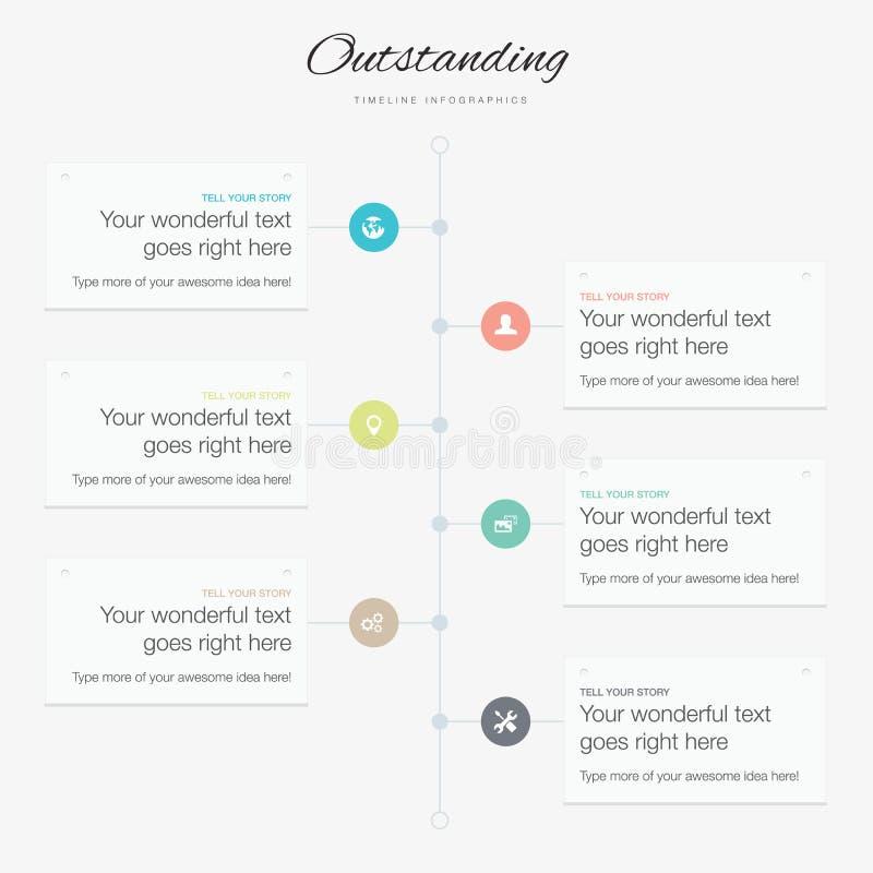 För vektormall för Timeline inspirerande färger för infographic lägenhet vektor illustrationer